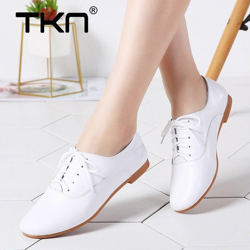 639574b74bead 2019 printemps Ballet chaussures plates pour femmes en cuir véritable  Oxford chaussures de sport à lacets Chaussure Femme ballerine mocassins  Femme 051 dans ...