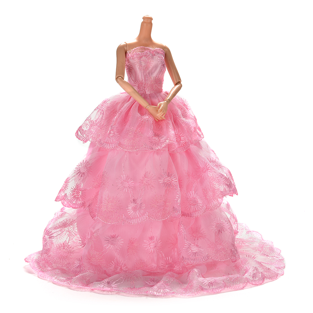Elegant 1Pc Pink Color Handmake Wedding Gown Dress Clothing For Barbie Doll Princess Outfit Clothes Girls Gift Hot Sale
