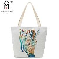 New Design Women Bag Summer Lady Canvas Shoulder Bag Horse Zebra Printed Big Tote Handbag Daily