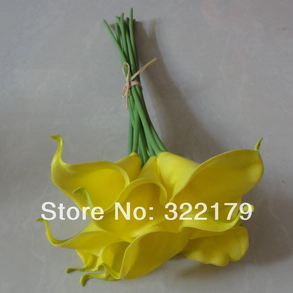 10pcs 36cm dia 7cm yellow calla lilies wedding bouquet flowers latex 10pcs 36cm dia 7cm yellow calla lilies wedding bouquet flowers latex calla for wedding centerpieces decor in artificial dried flowers from home garden izmirmasajfo