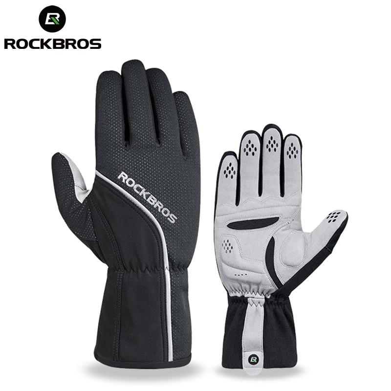 ROCKBROS Thermal Cycling <font><b>Glove</b></font> Full Finger Winter Windproof MTB Road Bike <font><b>Glove</b></font> Anti-slip With Sponge Pad Warm For Men Women bmx