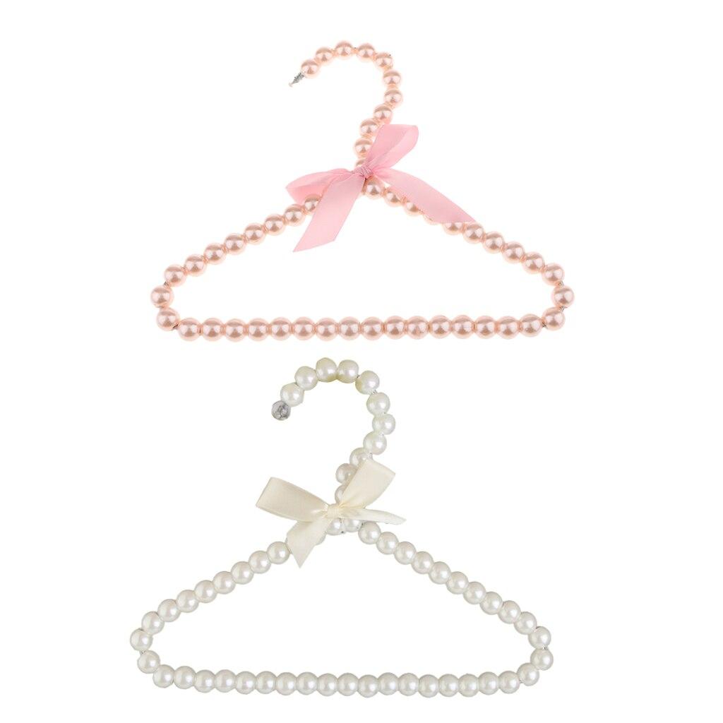 2Pcs Clothes Coat Pearl Bow Hanger Rack For Kids Children Fashion 20x16cm ( White & Pink )