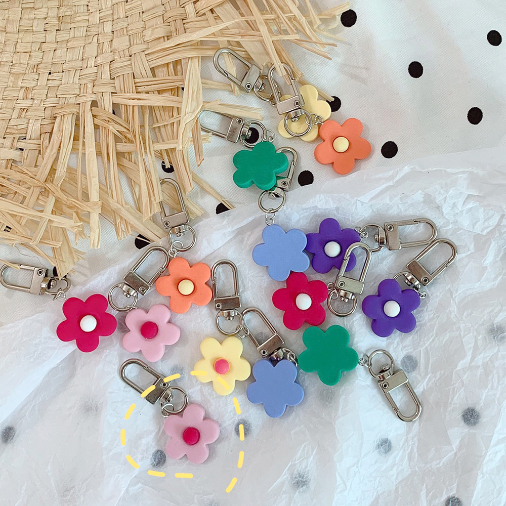 Creative 1PC Mini Cute Flower Keychain Keyring For Women Girl Jewelry Bag Car Key Holder Key Rings Gifts