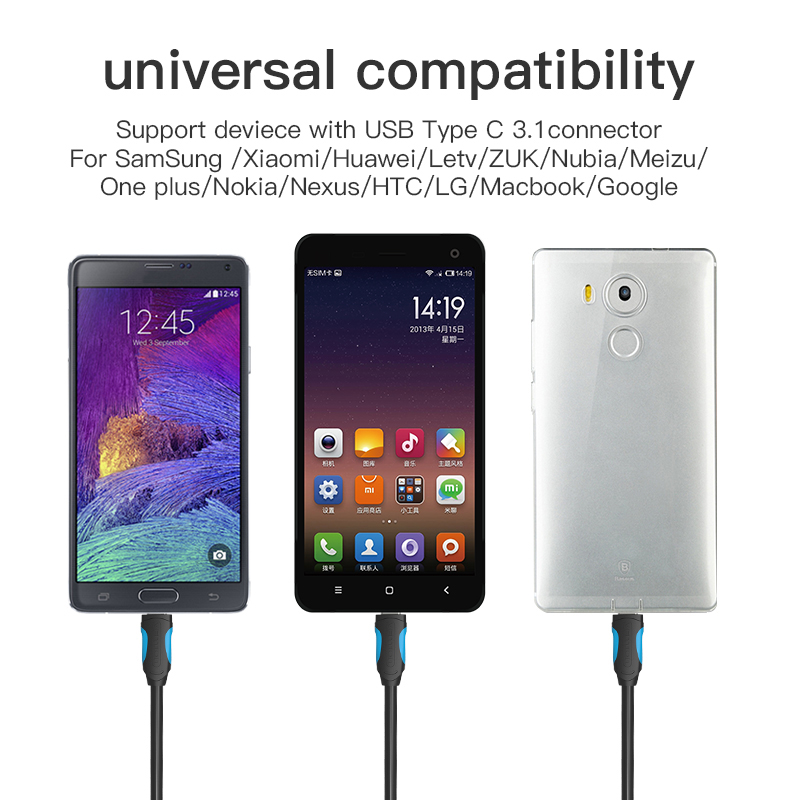 Image 3 - Vention USB C Cable USB Type C Cable 2A USB 3.1 Fast Charging USB C Data Cable Type C Cable for Samsung Huawei ZUK LG Xiaomi 0.5-in Data Cables from Consumer Electronics