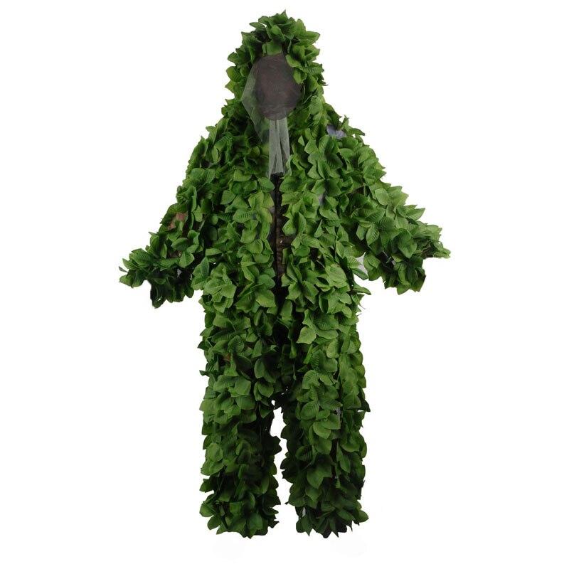 Ghillie Camouflage militaire boisé convient à la maille respirante + feuilles vertes vêtements de Sniper pour la chasse forestière