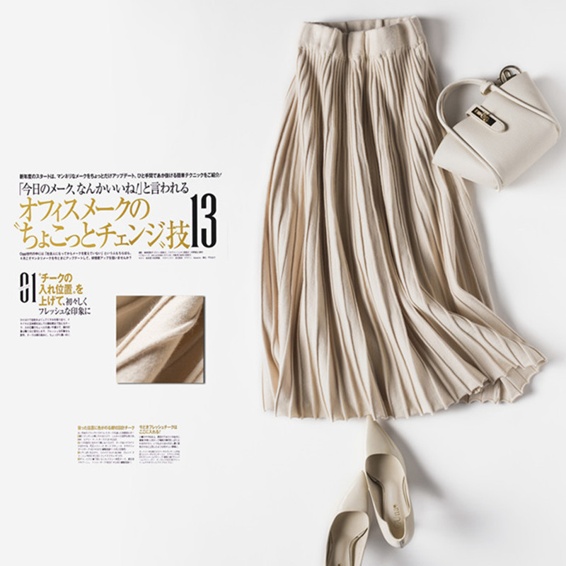 YeeshanAdult Tulle Skirt Lolita Winter Skirt Khaki Coffee Black Mid-calf Skirt for Women Pleated Thick Skirts Winter Saia Autumn