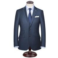 Custom Made Dark Blue Mens Vintage Striped Suits British Style Men Slim Fit Suits Notch Lapel Groomsmen Wedding Suits Tuxedos