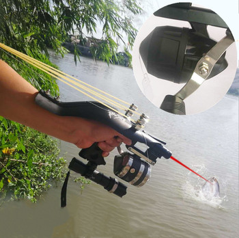 Hot fishing slingshot hunting slingshot set outdoor shooting fishing reel + darts + rubber tube flashlight, etc.
