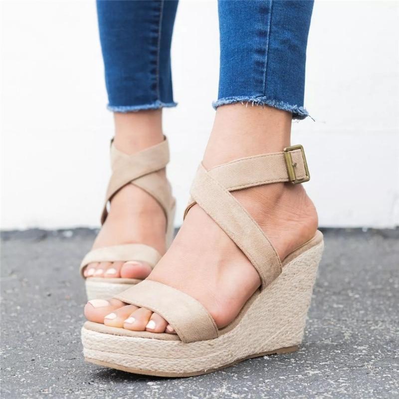 Leopard Wedge Sandals Summer Peep Toe Flock Buckle Strap Women Platform Espadrilles Sandal Plus Size 43 High Heels Shoes Female  (7)