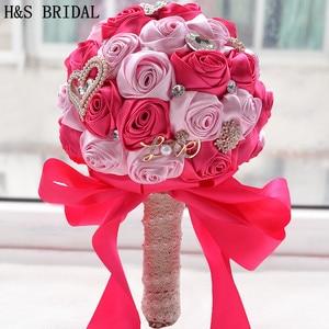 Image 5 - 8 สี Gorgeous ดอกไม้งานแต่งงานเจ้าสาวประดิษฐ์ Wedding Bouquet คริสตัลประกายไข่มุก 2020 Buque de noiva