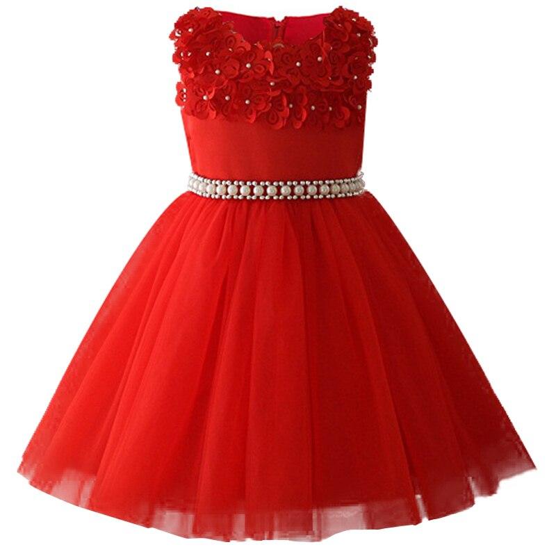 Атласное платье для первого причастия для маленьких детей; блестящее бальное платье; Пышное Платье; Платья с цветочным узором для девочек на свадьбу; платье для банкета сзади - Цвет: red