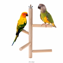 Parrot Perch Cage-Accessories Natural-Wood Swing Stages-Toys Rotating-Ladder Bird Parakeet