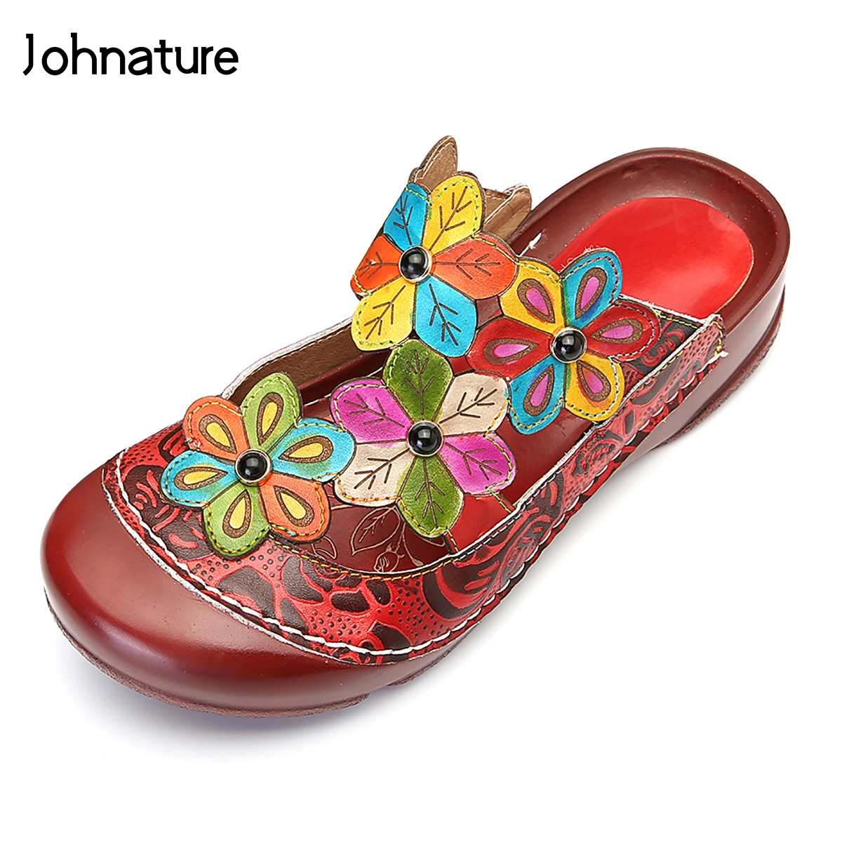 Johnature 2019 New Summer Genuine Leather Hand painted Outside Slippers Sewing Flower Flat With Sandals Women