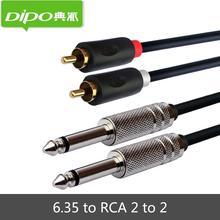 DIPO 6.35 a 2 RCA a 2 Cabo de Áudio Macho Para Macho para Stereo Mixer Analógico