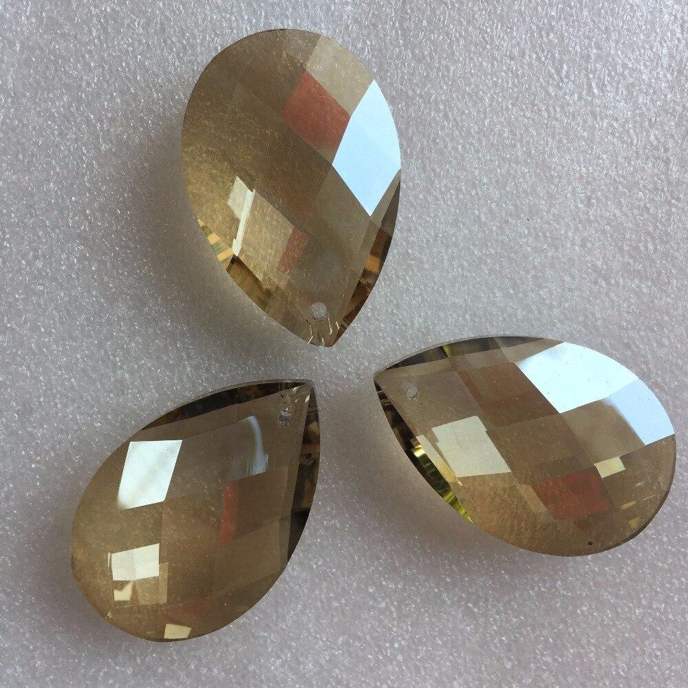 38mm 10pcs/lot Cognac Transparent Crystal Chandelier Beads Crystal Prism Pendant Cross Pendant