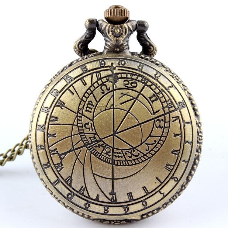 Vintage Bronze Pocket Watch Men Doctor Who Design Ladies Mens Accessory Necklace Chain Pendant Quartz Pocket Watches Clock Male ...