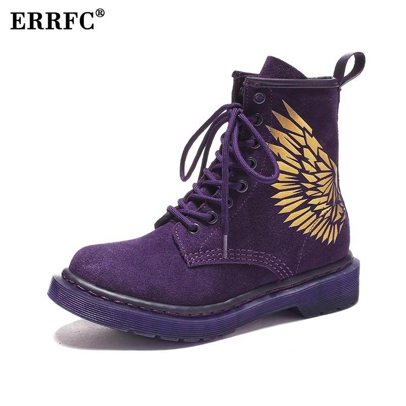 ERRFC Luxury Women s Work Boots Purple Fashion Winter Leisure Trending Ankle  Boots For Girls Motorcycle Shoes a91fde7b5752