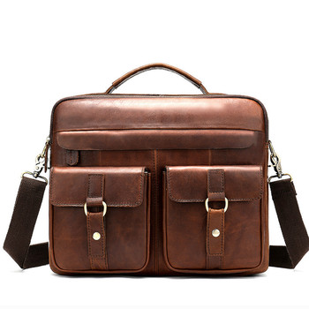 Men's Laptop Bag Men Leather Bags For Macbook Air 14 Bussiness Genuine Leather Male Computer Briefcase Man Tote Handbag For Mac