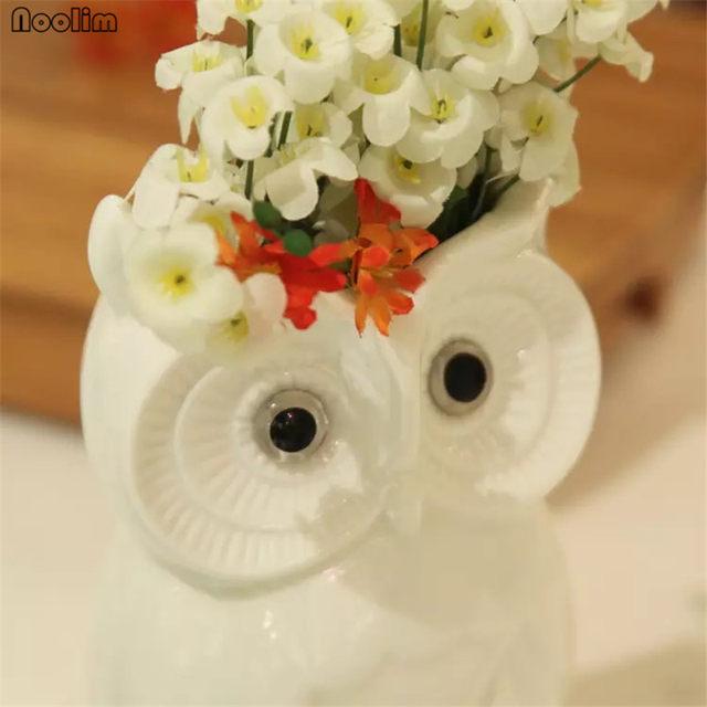 Online Shop Noolim Ceramic Creative White Owl Vase Home Living Room