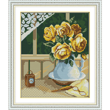 NKF Yellow Rose Stamped Cross Stitch Patterns DIY Kits Needl