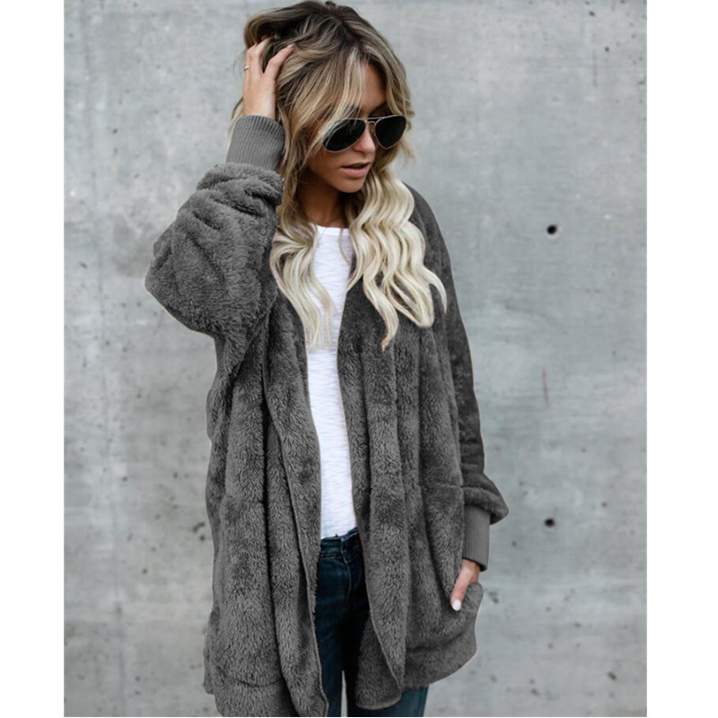 5XL Faux Fur Teddy Bear Coat Jacket Women Fashion Open Stitch Winter Hooded Coat Female Long Sleeve Fuzzy Jacket 2019 Plus Size