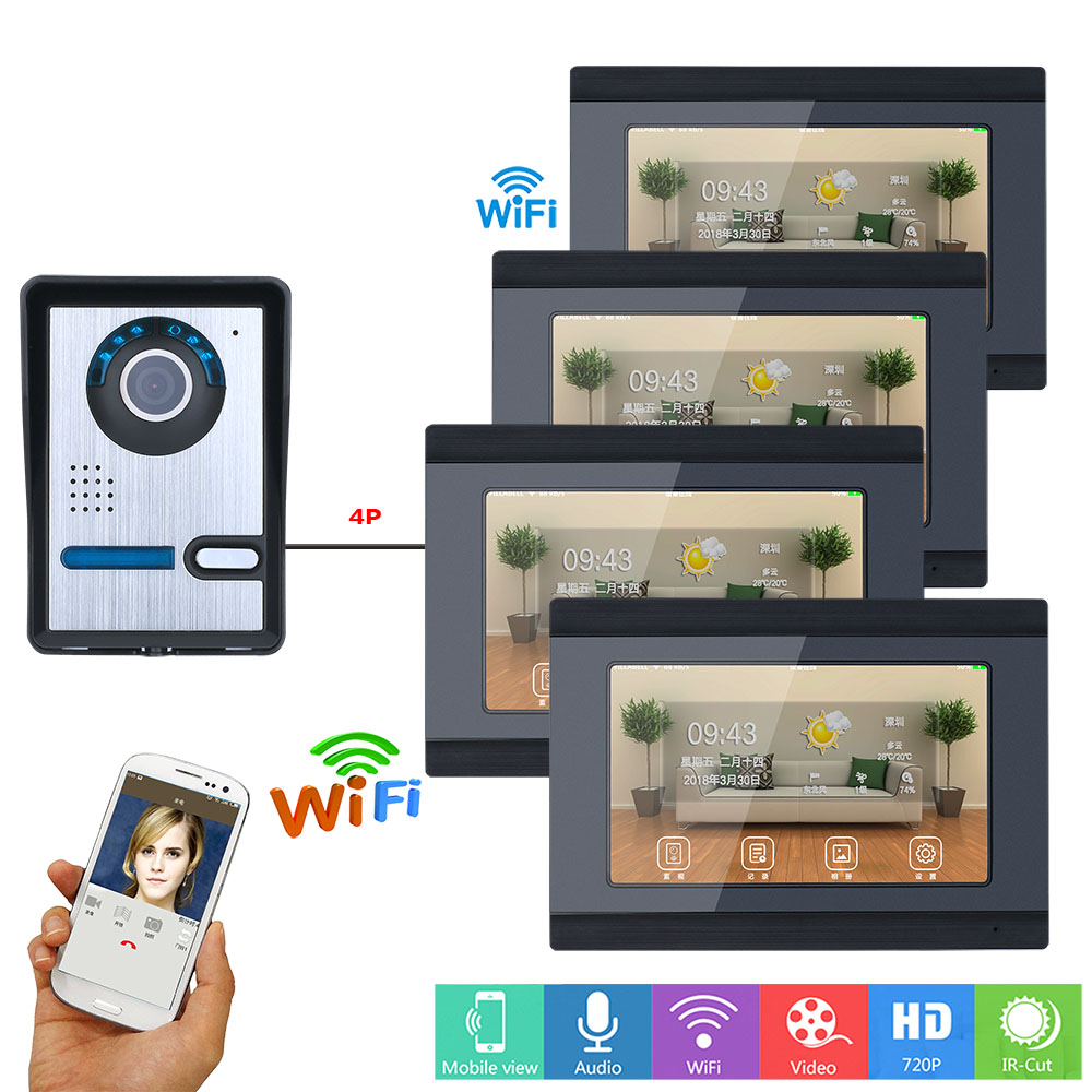 7 Inch 4 Monitors Wired /Wireless Wifi Video Door Phone Doorbell Intercom System With  IR-CUT HD 1000TVL Wired Camera Night Visi