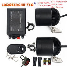 LDDCZENGHUITEC Universal Motorcycle LED Fog Lights Taillight Anti fog Parking Stop Brake font b Lamps b