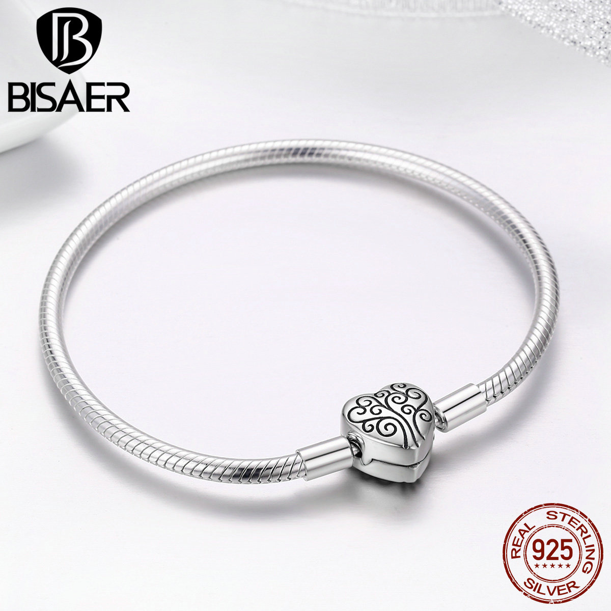 Image 5 - 100% 925 Sterling Silver Family Tree Of Life Snake Chain  Bracelets for Women Heart Pave Sterling Silver Bracelet Jewelry  ECB066Charm Bracelets