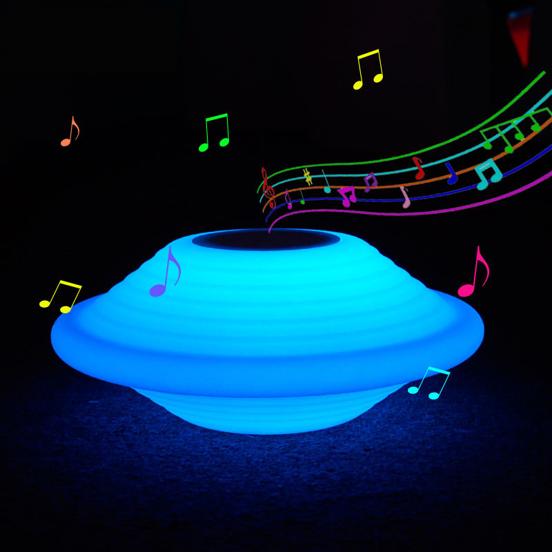Rechargeable UFO LED Night Light bluetooth speaker RGB 16 Colors remote control table bar home music restaurant decorative lamp ufo shape portable mini rechargeable bluetooth v2 1 speaker black orange