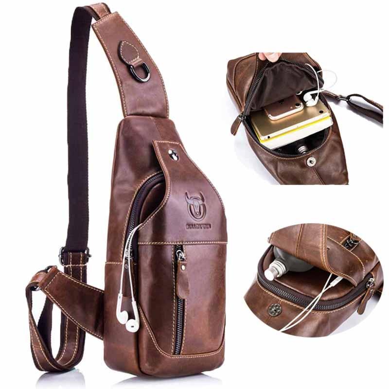 Bull Captain Sling Backpack Genuine Leather Chest Shoulder Bags Casual Crossbody Bag Travel Hiking Daypacks 019 Black