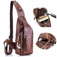 BULLCAPTAIN 019 Genuine Leather Bag Men Chest Pack Travel Brand Design Sling Bag Business Shoulder Crossbody Bags for Men