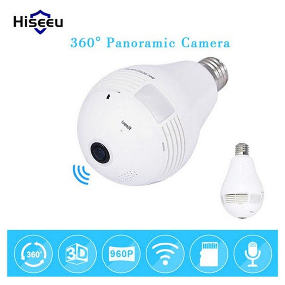 Ampoule sans fil IP caméra Wi-fi FishEye 960 P 360 degrés Mini CCTV VR caméra 1.3MP sécurité à domicile WiFi caméra panoramique caméra