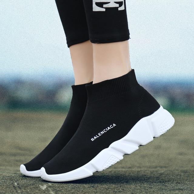 Хип-хоп женские стрейч носок сапоги Модные дышащие сезон весна-лето кроссовки на платформе удобные легкие повседневная обувь