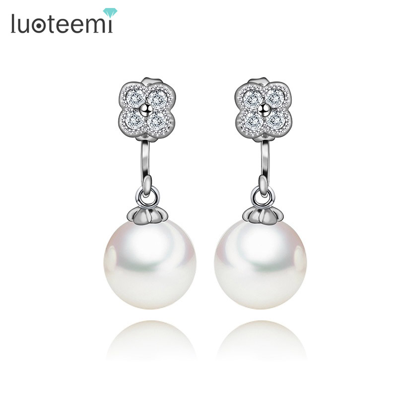 LUOTEEMI Brand Fashion Jewelry CZ Micro Paved Flower With S925 Silver Pin White Created Pearl Earrings For Women Acessories