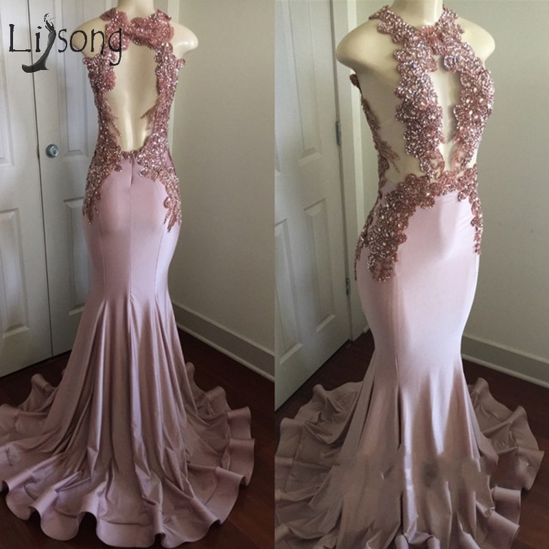 Sexy Dusty Pink Mermaid Long   Prom     Dresses   Halter Off Shoulder Backless   Prom   Gowns 3D Appliques Crystal Vestido De Festa Longo