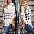 Fashion Women Autumn print gingham V-neck 7 minutes of sleeve Blouse