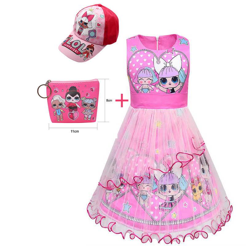 Забавное платье принцессы для маленьких девочек; платье-пачка из тюля; платье без рукавов с принтом куклы; платье для торжеств с удивлением