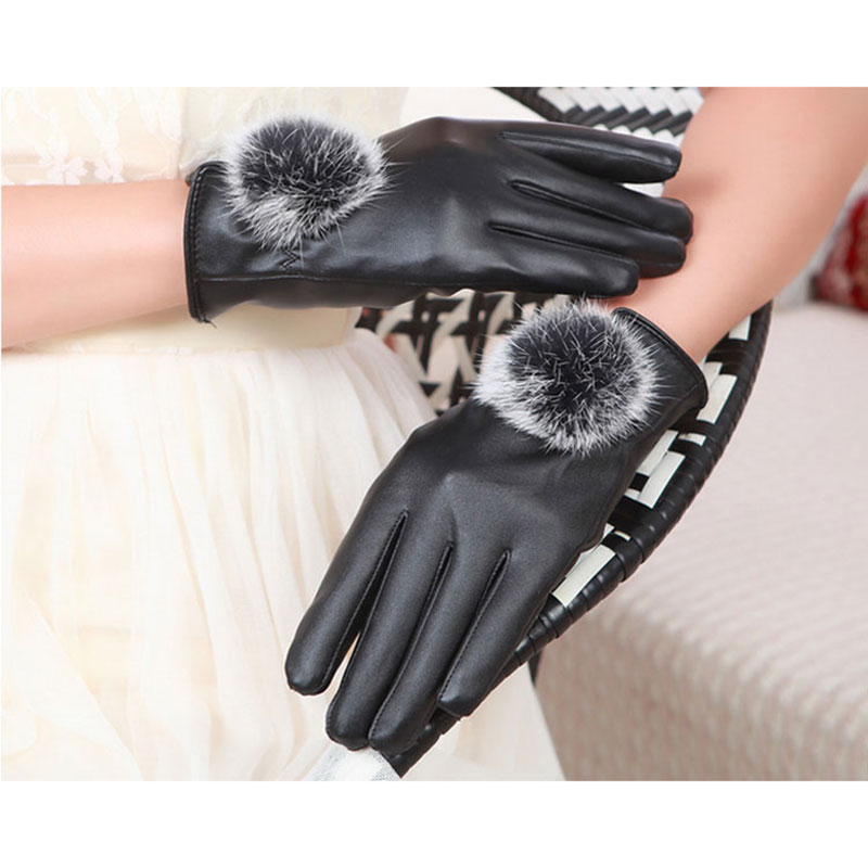 Newly 1Pair New Winter Soft Mittens Warm PU Leather Rabbit Fur Balls Female Gloves Touches Screen Women Gloves   M99