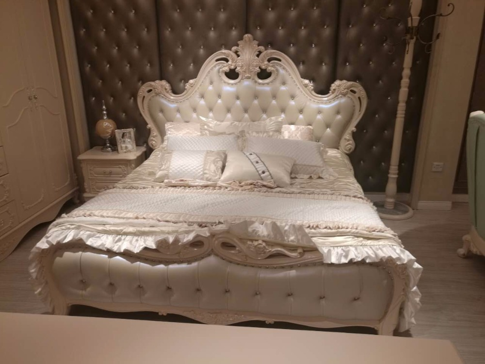 """0305FDL8801 Modern French style luxurious European leather king size comfortable bed frame bedroom furniture an anthology of modern french poetry 1850a€""""1950"""