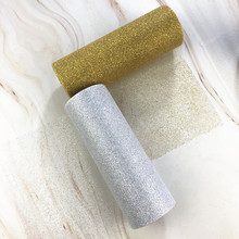 15cm 10Yards Glitter Tulle Roll Sparkly Sequin Organza DIY Party Crafts Tutu Skirt Wedding Birthday Party Supplies Gold Silver.(China)