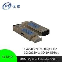 4 К UHD HDMI волоконно оптический удлинитель 300 м 1080 P 4 К * 2 К 3D LC OM3 двойной core многомодовый конвертер HDMI кабель