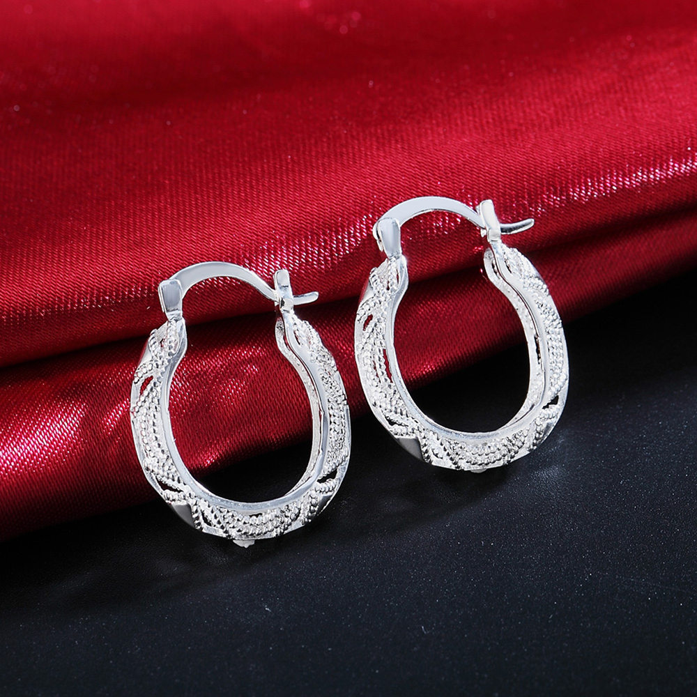 wholesale for women fashion Silver color fashion charms wedding Party earring hot luxury jewelry nice stamped , JSHLE039 2