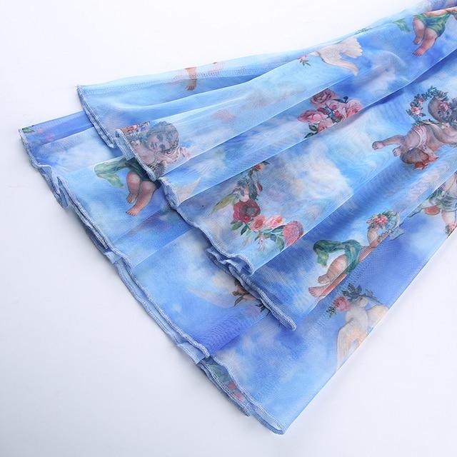 Angel Print Kawaii Mesh Transparent Sexy Boho High Waist Pants Women 2019 Double Layer Boot Cut Flare Trousers Summer