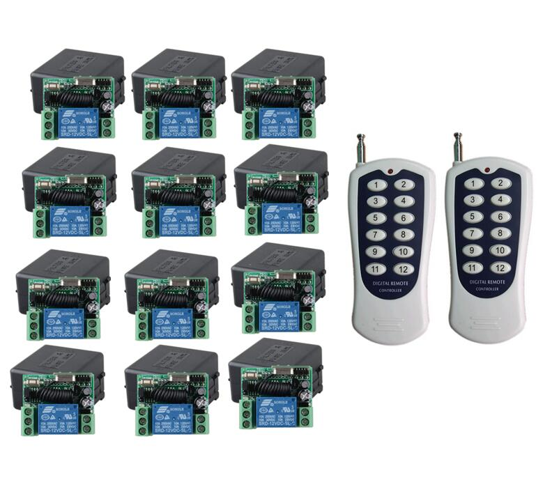 Universal DC 12 v 1CH RF wireless remote control switch receiver transmitter 433mhz 315 mhz light