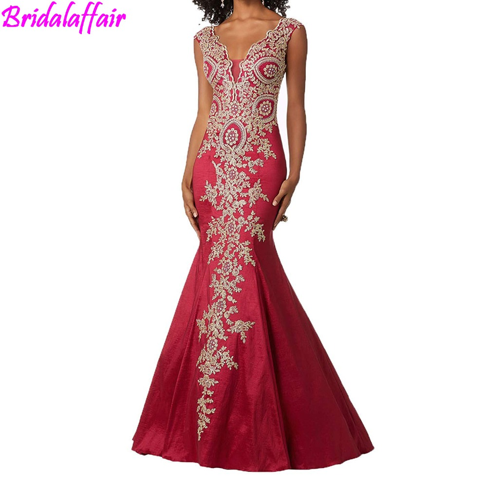 2018 wholesale Womens Gold Lace Appliques Mermaid Evening Dresses Sexy V Neck Long Prom Dress Formal Gown Elegant
