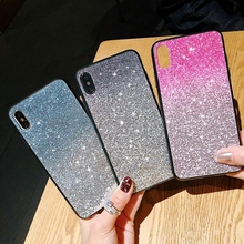 For Huawei Y9 2019 Phone Case Fashion Luxury Gradient Bling Glitter Crystal Sequins Cute Silicon Cover