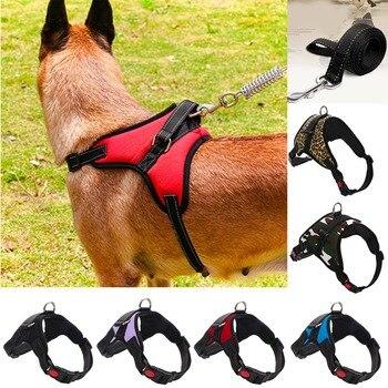 Hot Sale  Nylon Heavy Duty Dog Pet Harness Collar K9 Padded Extra Big Large Medium Small  Leash  vest Husky Dogs Supplies