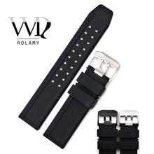 Rolamy 23mm Wholesale High Quality Rubber Silicone Replacement Wrist Watch Band Strap Belt With Black Silver Buckle quality silicone watchband 23mm black sport style for mens replacement silicone watch bands with steel buckle