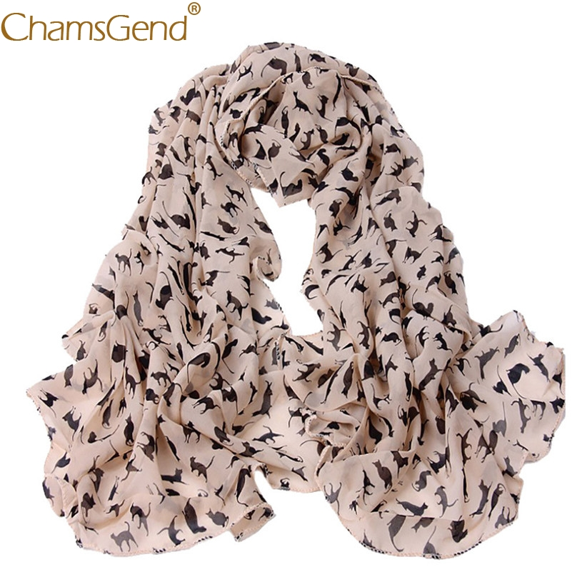Free Shipping Women   Scarf   Black Cat Print Female Chiffon   Scarves     Wraps   80910