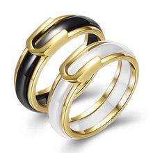 Кольцо женское керамическое золотистое с фианитом креативное